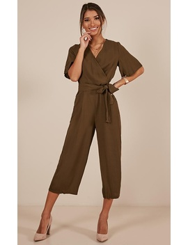 Writers Retreat Jumpsuit In Khaki by Showpo Fashion