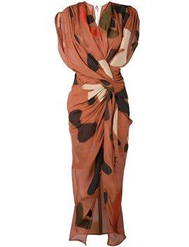 Jacquemus Print Draped Midi Dress   Brown/Beige/Red by Garmentory