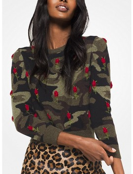 Rose Embroidered Camouflage Cashmere Pullover by Michael Kors Collection