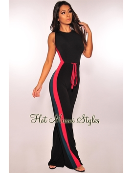 Black Red Green Striped Drawstring Jumpsuit by Hot Miami Style