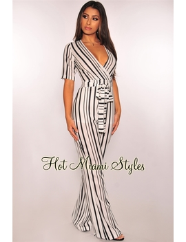 White Black Striped Short Sleeves Belted Jumpsuit by Hot Miami Style