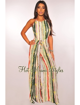 Sage Abstract Striped Halter Wrap Palazzo Jumpsuit by Hot Miami Style