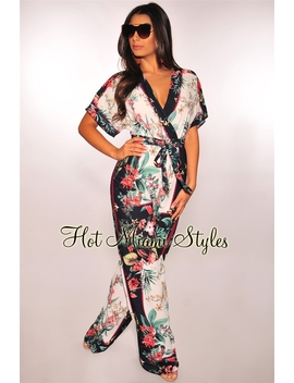 White Navy Boho Blossom Palazzo Belted Jumpsuit by Hot Miami Style