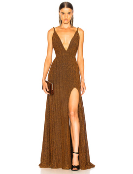 Pleated Lurex Gown by Pat Bo