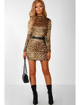 Sweetener Multi Velvet Leopard Print Long Sleeve Mini Dress by Pink Boutique