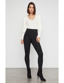 Faux Leather Trimmed Ponte Legging by Bcbgmaxazria