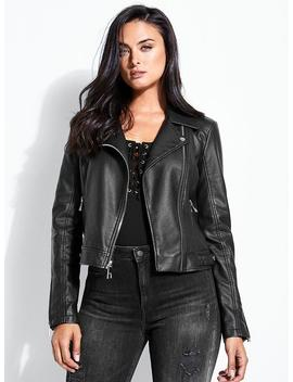 Easton Hooded Moto Jacket by Guess