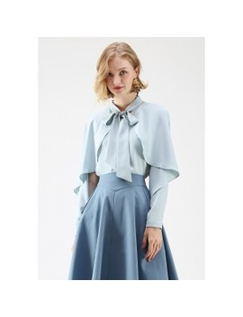 Crush On Casual Bowknot Cape Sleeves Top In Blue by Chicwish