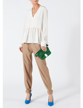Silk V Neck Peplum Top by Tibi