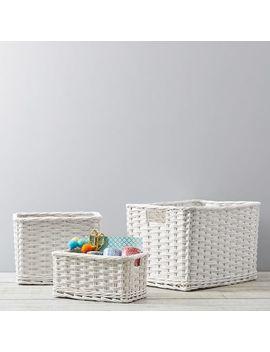 Woven Wicker Baskets, White by P Bteen