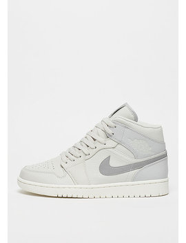 Air Jordan 1 Mid Light Bone/Grey Fog/Reflect Silver/Sail by Jordan