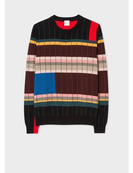 Anni Albers X Paul Smith   Men's Geometric Stripe Cashmere Sweater by Paul Smith