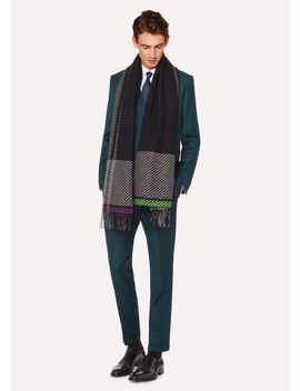 Men's Grey And Black Asymmetrical Check Wool Scarf by Paul Smith