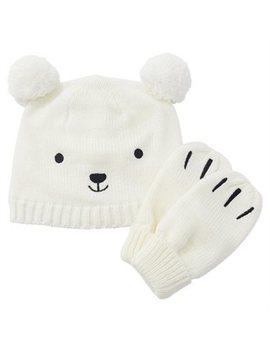 Indigo Baby Pom Pom Hat And Mitts Ivory Bear 0 To 6 Months by Indigo Baby