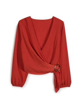 Red Buckle Wrap Top by Primark