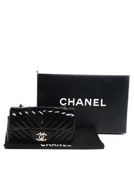 Classic Flap Chevron Mini Black Patent Leather Cross Body Bag by Chanel