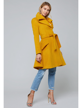 Oversize Collar Flared Coat by Bebe