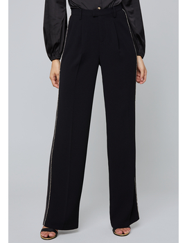 Crystal Wide Leg Tux Pants by Bebe