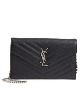 Monogram Wallet On A Chain Noir Calfskin Leather Cross Body Bag by Saint Laurent