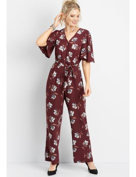 Floral Tie Waist Jumpsuit by Maurices