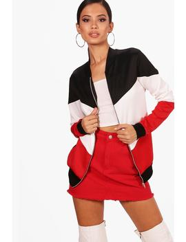 Colour Block Bomber by Boohoo