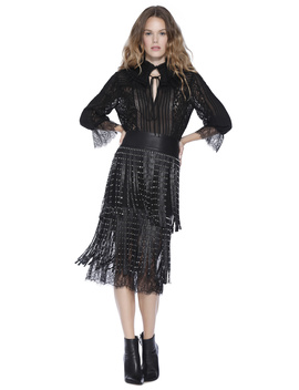 Senna Studded Leather Fringe Skirt by Alice And Olivia