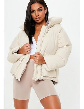 Nude Hooded Ultimate Puffer Jacket by Missguided