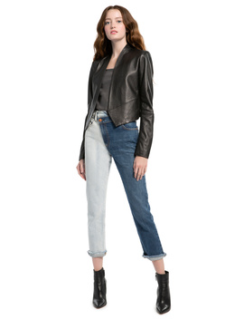 Harvey Open Front Leather Jacket by Alice And Olivia