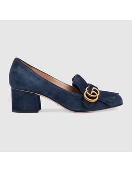 Suede Mid Heel Pump With Double&Nbsp;G by Gucci