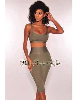 Olive Bandage Ribbed High Waist Capri Two Piece Set by Hot Miami Style