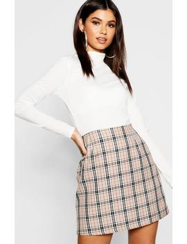 Woven Tonal Check A Line Mini Skirt Woven Tonal Check A Line Mini Skirt by Boohoo
