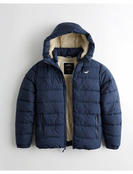 Recycled Fill Sherpa Lined Hooded Puffer Jacket by Hollister