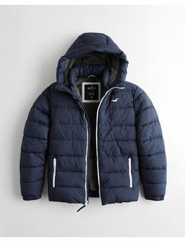 Recycled Fill Faux Fur Lined Hooded Puffer Jacket by Hollister