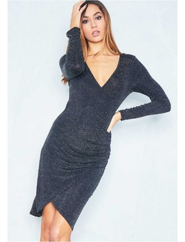 Ella Black Sparkle Wrap Midi Dress by Missy Empire