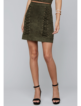 Faux Suede Lace Up Skirt by Bebe