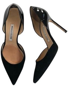 Black Suede Patent Pointed Toe Heels Pumps by Manolo Blahnik