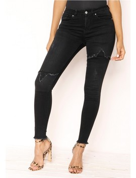 Adison Black Denim Distressed Jeans by Missy Empire