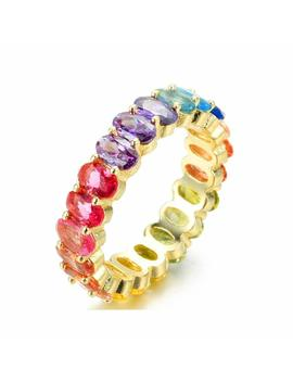 Nyc Sterling Women's .925 Silver Oval Shaped Rainbow Cubic Zirconia Eternity Ring by Nyc Sterling