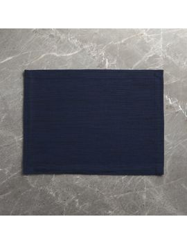 Grasscloth Navy Blue Cotton Placemat by Crate&Barrel