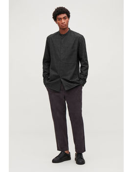 Checked Grandad Collar Shirt by Cos