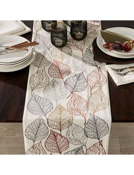 "Autumn Leaves 120"" Embroidered Table Runner by Crate&Barrel"