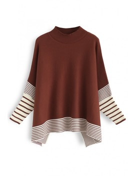 Lie In Caramel Fields Striped Oversize Knit Cape Sweater by Chicwish