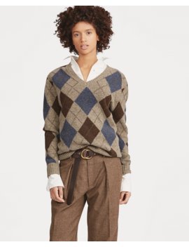 Argyle Wool V Neck Sweater by Ralph Lauren