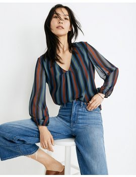Sheer Sleeve Top In Academy Stripe by Madewell
