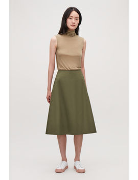 Cotton Poplin A Line Skirt by Cos