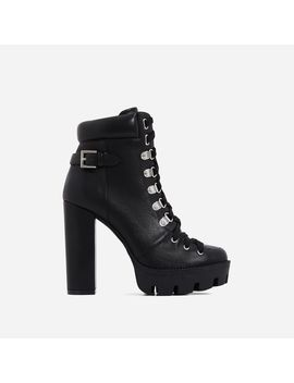 Veera Platform Ankle Biker Boot In Black Faux Leather by Ego