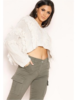 Katarina Cream Fringing Cropped Jumper by Missy Empire