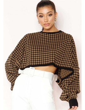 Amelie Camel Dogtooth Oversized Batwing Crop Jumper by Missy Empire