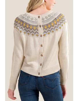 Viola Button Back Fair Isle Sweater by Francesca's