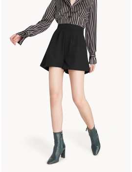 High Waisted  Pleated Shorts   Black by Pomelo